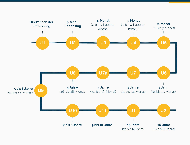 Übersicht Zeitplan U-Untersuchungen für Kinder - Grafische Darstellung