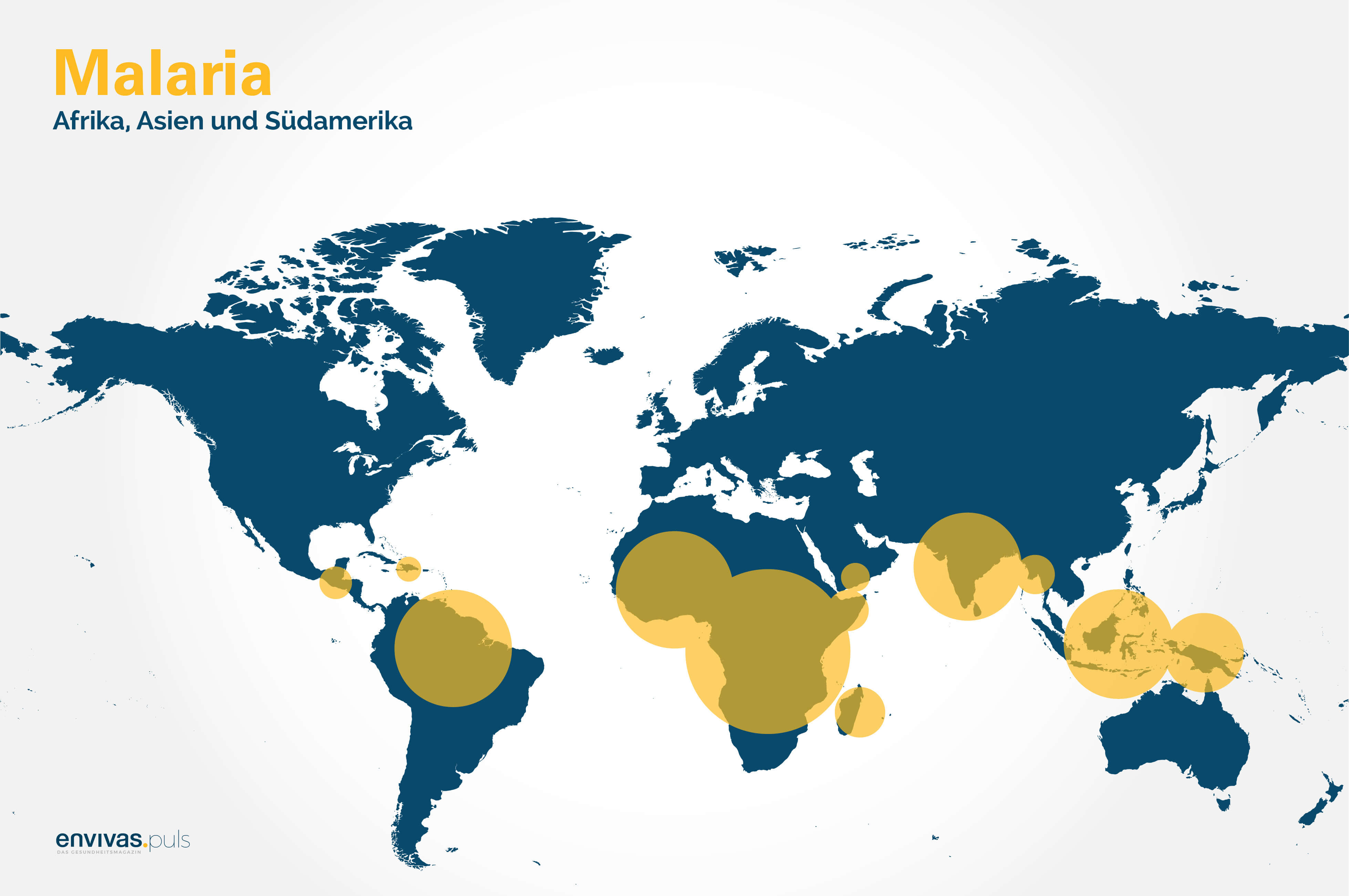 Weltkarte mit Malaria-Verbreitung - Grafische Darstellung