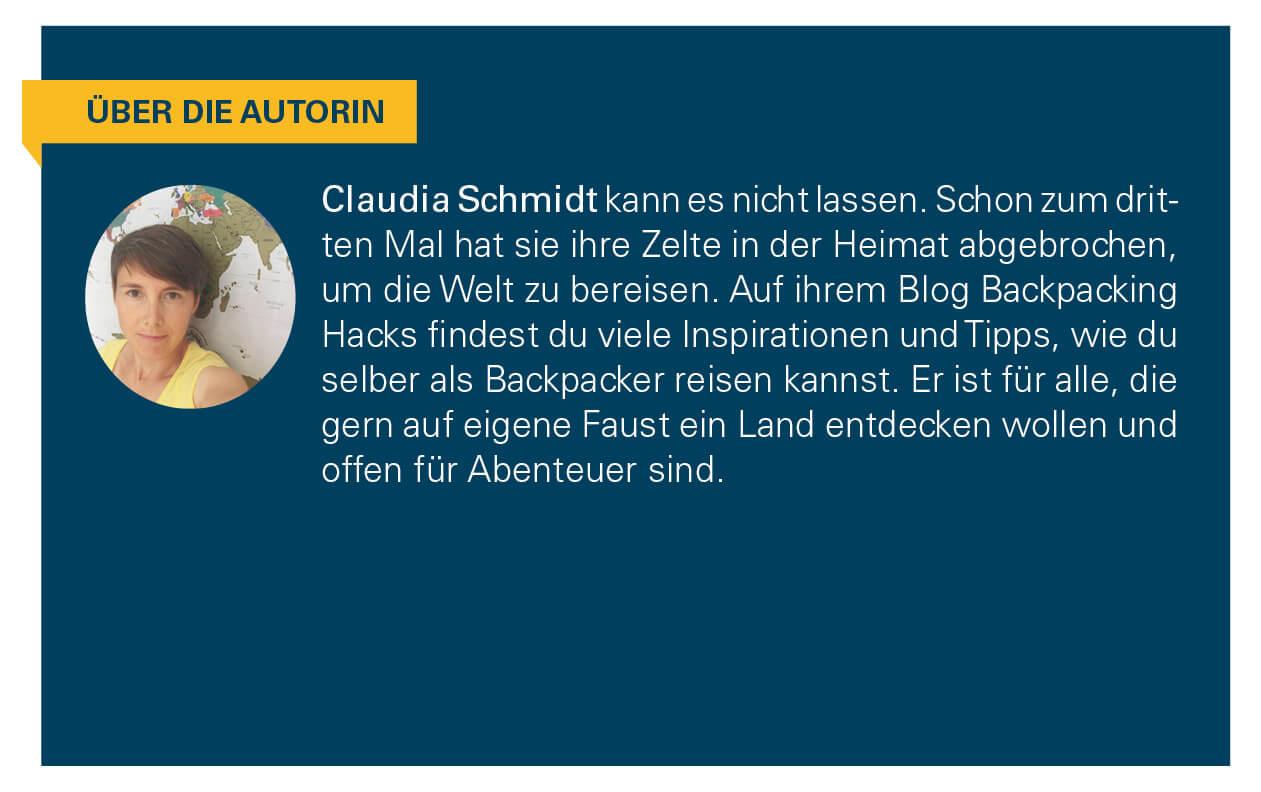 Kurzbiografie der Autorin Claudia Schmidt.