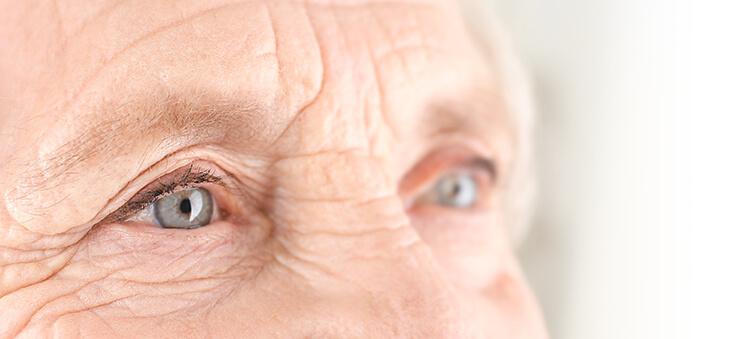 Augenpartie einer älteren Dame in Nahaufnahme.
