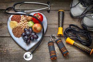 die drei Saeulen der Gesundheit – gesunde Ernaehrung, Sport, kein Stress.